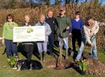 Receiving the Waitrose collection cheque at the Jubilee Fields Orchard